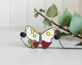 Butterfly Necklace Hand Painted on Wood Art Pendant  Animal  Necklace