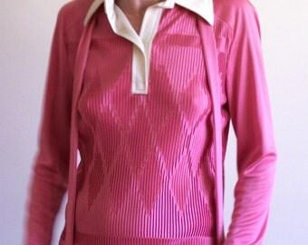 vintage 60s pleated pink diamond long sleeve shirt