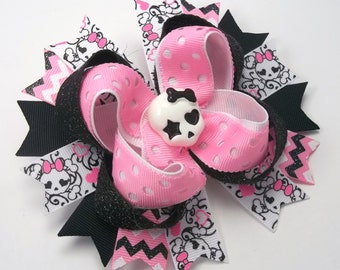 Rock N Roll Girl Hair Bow, Rockabilly Boutique Hair Bow, Pink And Black Skull Hair Bows