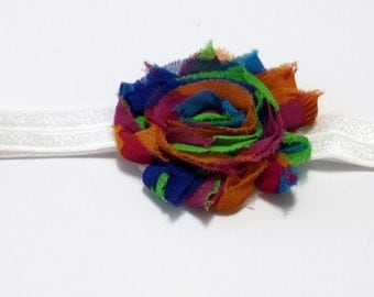 Shabby Flower Multi Color Headband White Fold Over Elastic