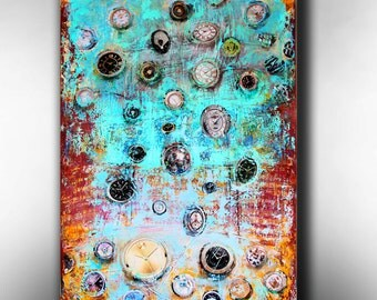 Art Painting Canvas painting ORIGINAL  ABSTRACT  PAINTING on canvas Time Stands Still 36''x24'' Acrylic on Canvas