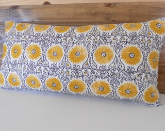 Yellow and gray medallion floral decorative throw pillow cover, yellow suzani pillow cover