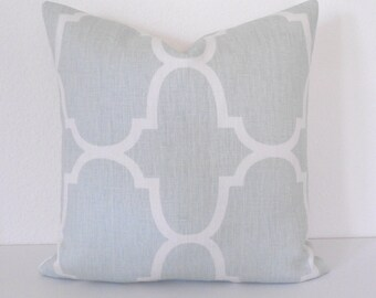 SALE Designer pillow cover, Windsor Smith for Kravet, Seafoam Riad, blue green trellis