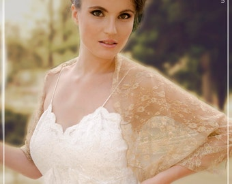 Gold bridal shrug with 4 wearing options - shrug , shawl , crisscross and scarf . perfect lace cover-up for bridal gown (SF103)