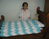 "Hand-crocheted Turquoise and White Afghan Blanket for 18"" American Girl Dolls"