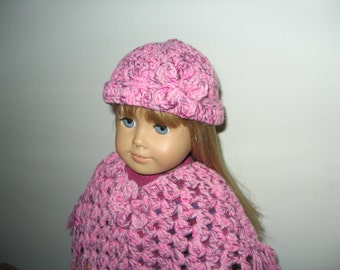 "Hand-Crocheted Sparkly light Pink 3 piece Poncho set with Flower Motifs for 18"" 18 inch Dolls"