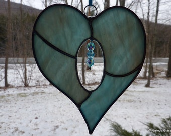 Aqua Stained Glass Heart with Crystals
