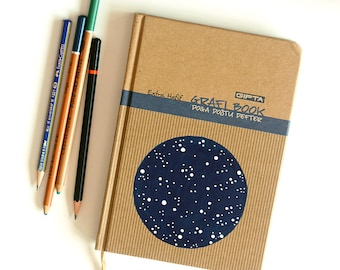 SALE Large notebook journal Hand painted blank book with hardcover Space and stars