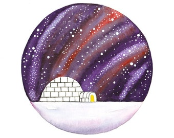 Original Watercolor painting Igloo under the stars Arctic north inspired art Galaxy Starry night