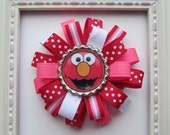 Sesame Street - Elmo - Red Loopy Hair Bow - Red, Pink & White - Birthday, 1st Birthday, 2nd Birthday, 3rd Birthday Party