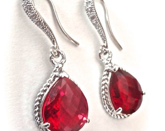 Ruby red earrings - Sterling Silver - Elegant - Bridal Jewelry - Julys birthstone - Bridesmaids - Wedding jewelry - Birthday Gift -