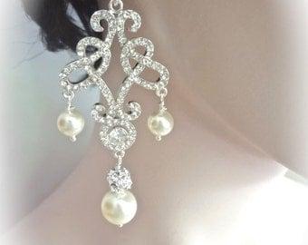 Pearl earrings ~ Brides earrings ~ Chandelier ~  Swarovski pearls and crystals ~Crystal~Statement earrings - Wedding earrings ~  LOLITA