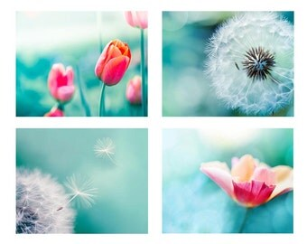 dandelion photography set tulips photography poppy 8x10 11x14 fine art photography nature red teal aqua large photography dandelion decor
