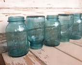 Vintage Sparkling Aqua Mason Jar Collection - 6 Antique Blue Glass Canning + Fruit Jars, Perfect Wedding Decor, Kitchen Containers / Storage