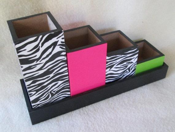 Desk set desk organizer pencil cup holder set zebra - Desk set organizer ...