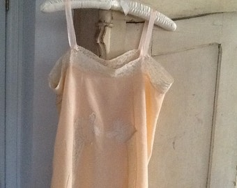 1930's PEACH CHEMISE w/lace inserts