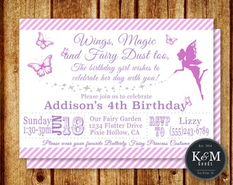Fairy Birthday Party Invitation / Butterfly Birthday / Fairy Princess Birthday / Printable Digital File