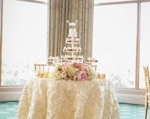 SALE IVORY Satin ROSETTE Tablecloth, Rosette Wedding Tablecloth, Rosette Wedding Table Runner, Rosette Table Overlay, White, Champagne