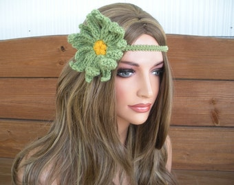 Womens Headband Crochet Headband Boho Headband Hippie Summer Fashion Accessories Women Forehead Headband Daisy Headband in Green