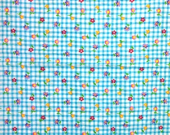 1 yard cotton blend, Tutti Fruitti fabric , Multicolor Flowers on Blue Check