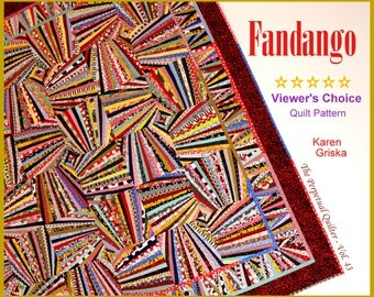 "Fandango Quilt Pattern, Art Quilt, Wall Quilt, String Quilt, Scrap Quilt, 66"" x 66,"" You Can Do This! qtm"
