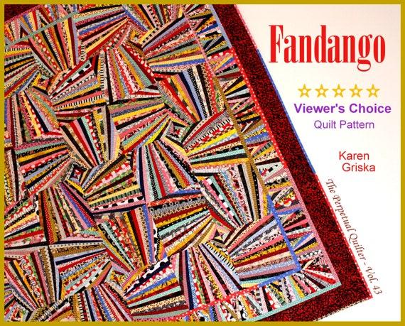 """Fandango Quilt Pattern, Art Quilt, Wall Quilt, String Quilt, Scrap Quilt, 66"""" x 66,"""" You Can Do This! qtm"""