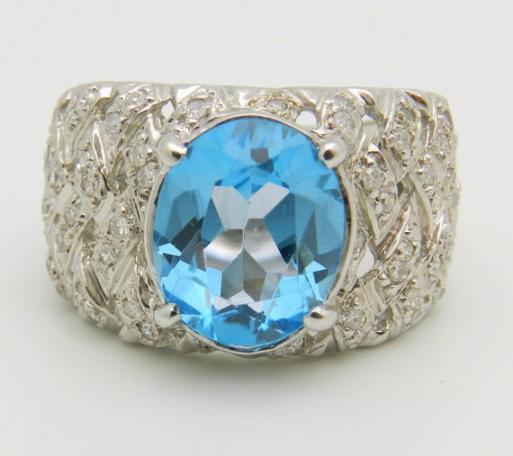 3.00 ct Diamond and Oval Blue Topaz Ring Statement Ring 14K White Gold Size 6.5