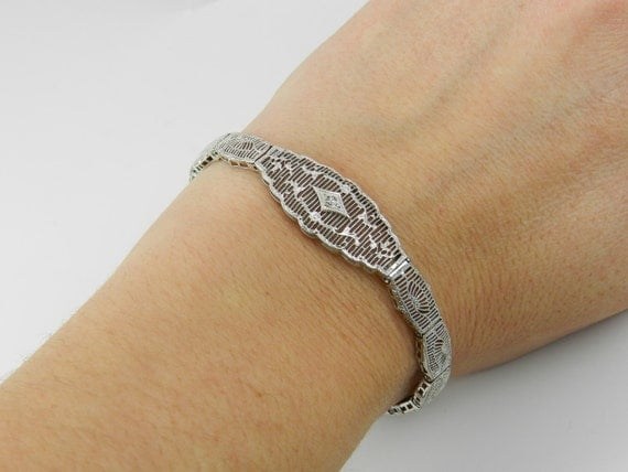 Diamond Filigree Bracelet Antique Bracelet Art Deco Bracelet 10K White Gold Circa 1920's