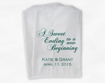 Wedding Favor Bags for Candy Buffet in Teal - A Sweet Ending to a New Beginning Customized Favor Bags for Wedding - Paper Treat Bags (0053)