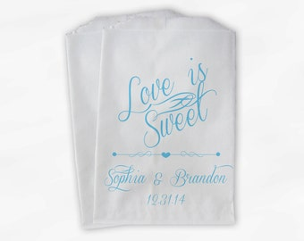 Love Is Sweet Script Personalized Wedding Candy Buffet Treat Bags - Favor Bags in Sky Blue - Custom Paper Bags (0097)