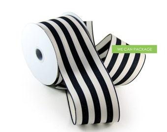 "Black and White Striped Ribbon 2.5"" x 10 Yards"