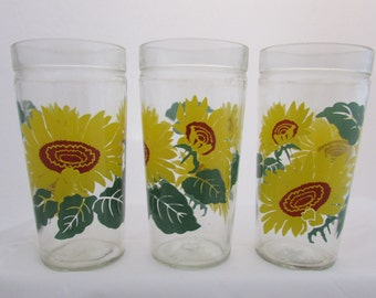 Anchor Hocking Sunflower Glasses Set of 3