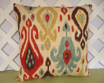 Ikat Pillow Cover in Red, Aqua, Gold, Brown, Cream / Red Aqua Pillow / Accent Pillow / Decorative Pillow