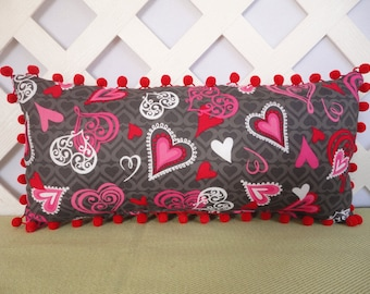 Hearts Valentine Pillow in Red Pink Grey / Hearts Pillow / Valentine Gift / Red Pink Grey Pillow / Accent Pillow