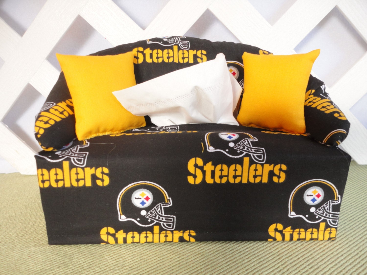 Pittsburgh Steelers Tissue Box Cover In Sofa Shape Black And