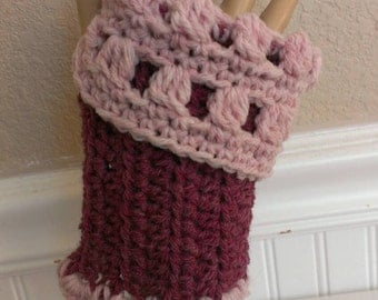 FREE SHIPPING - Hand Crochet - Fingerless Mitts - Wrist Warmers - In Dark Rose/Blush Color