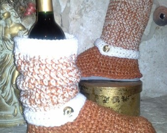 "Burnt Orange & Ivory ""Spirit"" Crochet Sweater Boots size Large(8.5-10 ) ""2 Tone Tweed"" Show your Team Spirit"