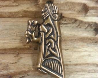 01.258.BZ  Viking era horn bearer maiden pendant -