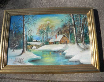 nice vintage clean signed 1960s snowy WINTER adirondack country cabin bridge stream OIL PAINTING