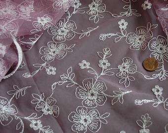Cream Corded Allover Embroidery