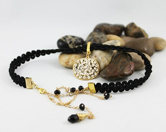Back Drop Necklace, Black Choker Necklace, Long Beaded Backdrop Necklace, Elegant Evening Jewelry