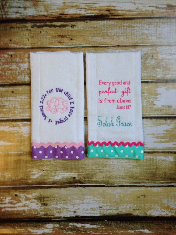 bible verse burp cloths baby shower gift custom monogrammed scripture