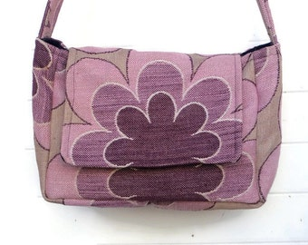 Insulated Lunch Bag Pail Bags and Purses Purple Floral Hippie