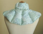 Neck and shoulder rice heat wrap for microwave - hot or cold muscle therapy - Baby Blue Sage Mint Paisley Flannel