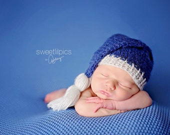 Newborn Boy Mohair Stocking Hat with Tassel - Made to Order