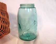 Antique Ball Mason Jar Quart Storage / Old Blue Glass Fruit Jar / Wedding Decor
