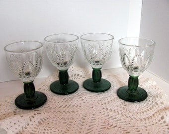 4 Wine Glasses Made by Fostoria for Avon  / Emerald Accent Avon Wine Cordial Stemmed Glasses