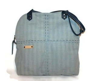 Tote bag Fabric and leather bag  lady bag women's gift Blue Leather strap Elegant bag