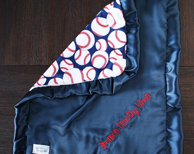 Baby boy, blanket for boy, baseball blanket, red white and blue, Blanket with name, embroidered blanket, personalized blanket Sports blanket