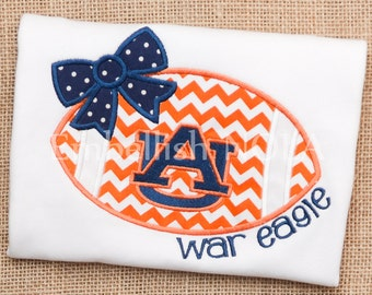 Auburn Girly Bow Football Applique Shirt or Bodysuit